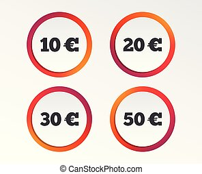 Money in Euro icons. Ten, twenty, fifty EUR.