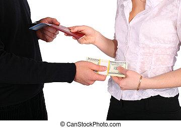 Money in exchange for documents