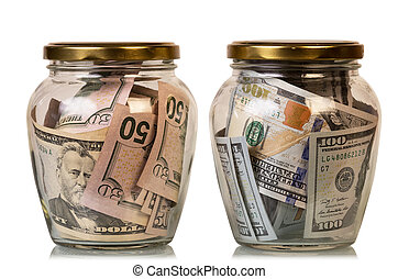 Money in glass jars