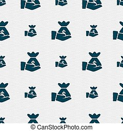 money in hand icon sign. Seamless pattern with geometric...