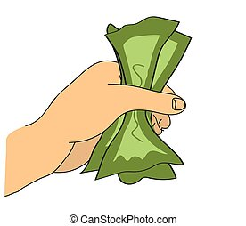 Money in hand on a white background. Vector.