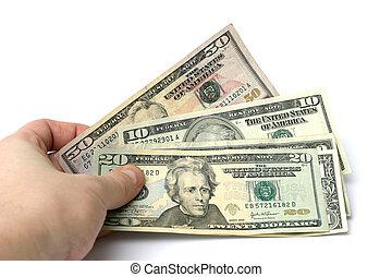 money in hand - us dollar bills in hand