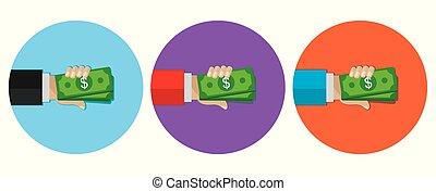 money in hand with dollar, round icon, set, flat design