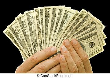 money in hands - money concept. dollars in hands
