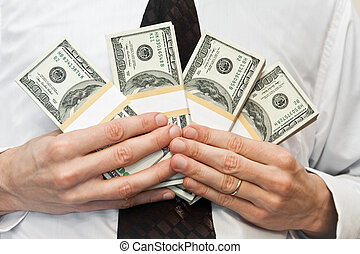 money in hands of the businessman