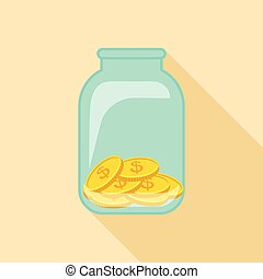 Money in jar icon, flat style