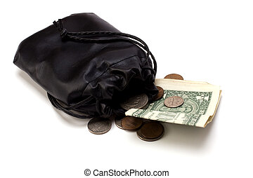 Money in leather bag isolated on white background