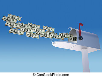 Money in mailbox - Money flying in mailbox over blue sky