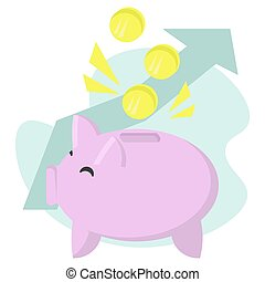 Money in piggy banks, money accumulation concept, pink pig with coins and an upward arrow on the background, growing savings and financial literacy