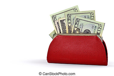 money in red change purse - American money in red leather...