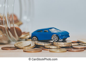 money in savings and car coins, buy car
