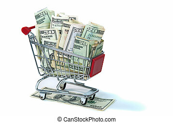 money in shopping cart - Shopping cart filled with cash...