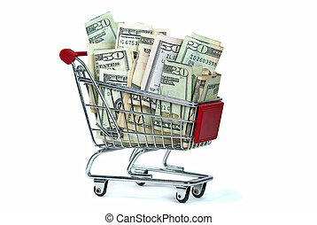 money in shopping cart - Money in shopping car isolated on...