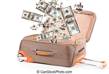 Money in suitcase isolated on white