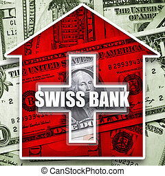 Money in swiss bank - Dollars cash and swiss bank symbolic...