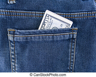Money in the back pocket of jeans.