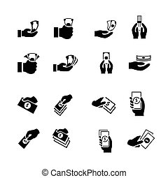 Money in the hand icons