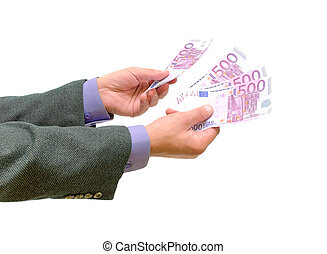 money in the hands of men on a white background
