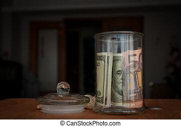 money in the jars