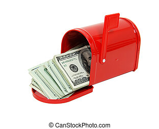 Money in the mailbox - Red metal mailbox with signal flag ...