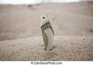 Money in the sand