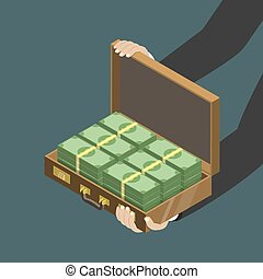 Money in the suitcase flat isometric low poly vector concept