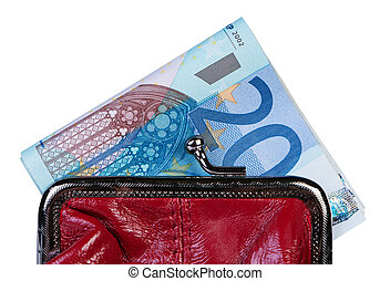 Money in wallet isolate on white background.