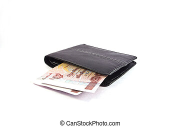 Money in wallet, isolated on white background