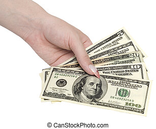 money in woman hand