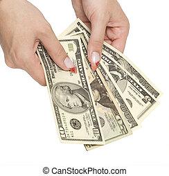 money in woman hands