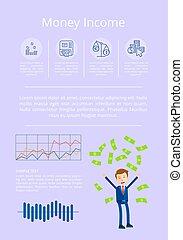 Money Income Statistics Vector Illustration