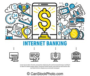 Money internet banking concept background, outline style