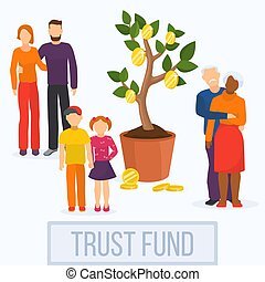 Money investment business concept financial trust fund vector illustration.