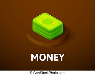 Money isometric icon, isolated on color background