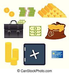 Money items set vector illustration isolated on white background