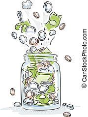 Money Jar Burst Illustration - Illustration of a Jar Full of...