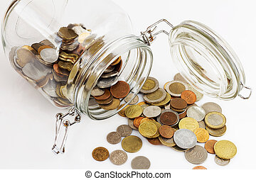 Money jar, white background