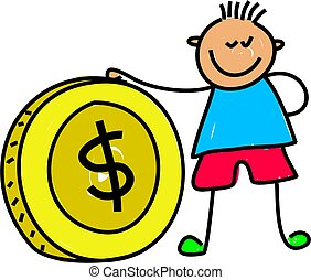 money kid - boy kid holding a dollar coin - toddler art...