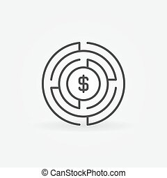Money labyrinth concept icon