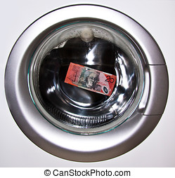 Money Laundering 1 - Cash being laundered in a washing...