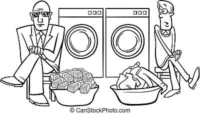 money laundering cartoon illustration - Black and White...