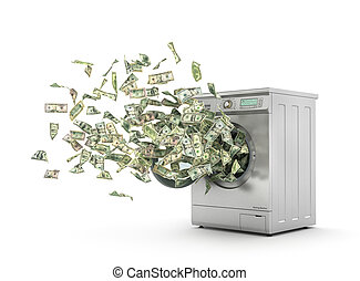 Money laundering concept. Dollar bills flying from the ...