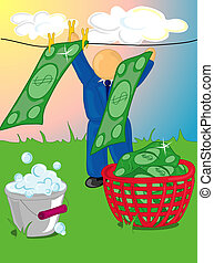 Money laundering - Illustration of a man hanging out money...