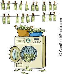Money laundering in washing machine vector illustration