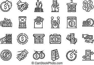 Money laundering icons set, outline style - Money laundering...