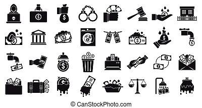 Money laundering icons set, simple style - Money laundering ...
