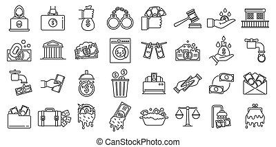 Money laundering offshore icons set, outline style - Money ...