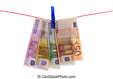 Money Laundering - Euro Bills on a Clothes Line