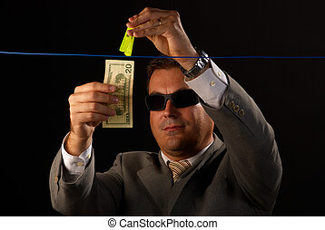 Money laundering - Mafia guy busy with some serious money...