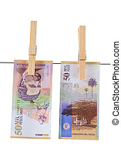 Money laundering - Fifty thousand pesos in bills